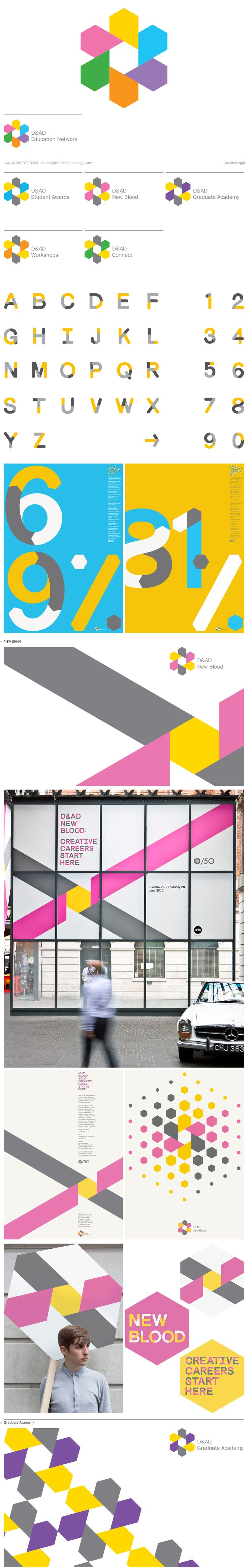 Identity composed of elements coming together – D&AD Education Network _ Bibliothèque Design