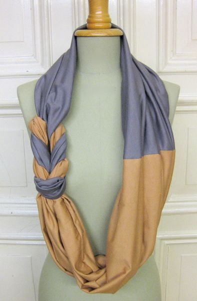 st anderswo | braided infinity scarf in sand and dove gray