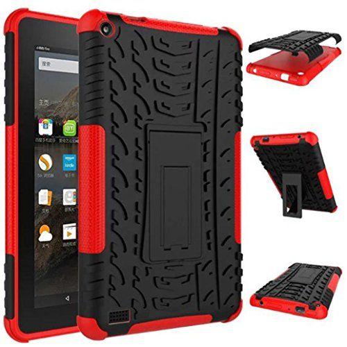 Ounice for Kindle Fire HD 7 2015 Case, Rubber Shockproof Hybrid Hard Case Stand Holder Case Cover for Kindle Fire HD7 2015 (Red) #Ounice #Kindle #Fire #Case, #Rubber #Shockproof #Hybrid #Hard #Case #Stand #Holder #Cover #(Red)