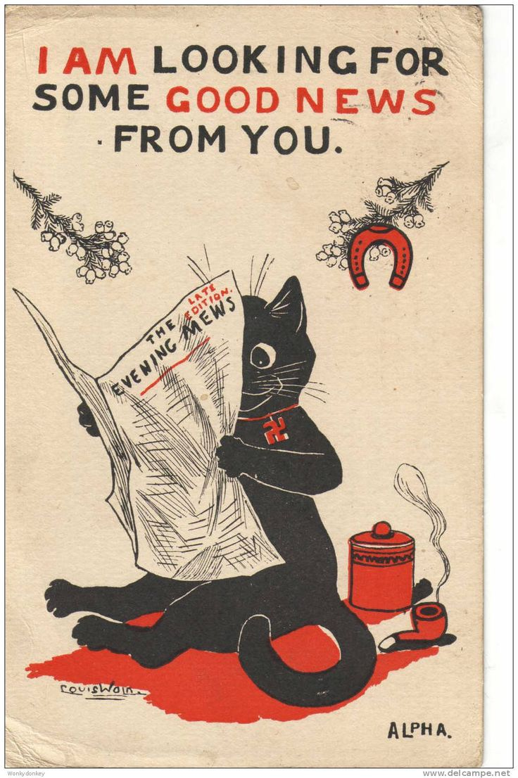 I am looking for some good news | Postcard by Louis Wain, 1918