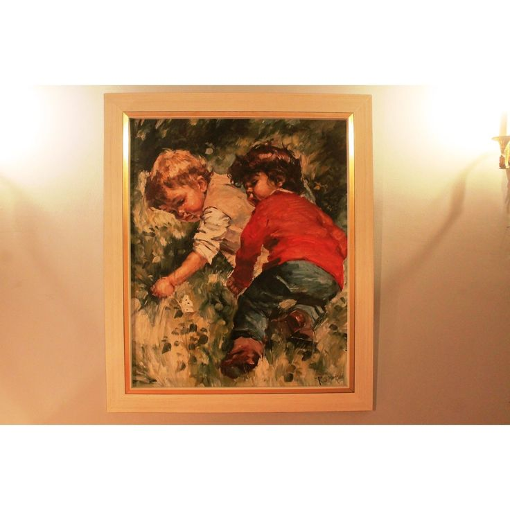 """Oil Painting by Charles ROKA Playing Children Signed """"Rocket"""" TOP CONDITION 