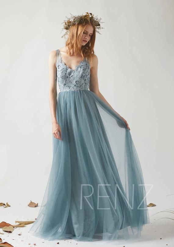 Prom Dress Long V Neck Boho Lace Dusty Blue Bridesmaid Dress