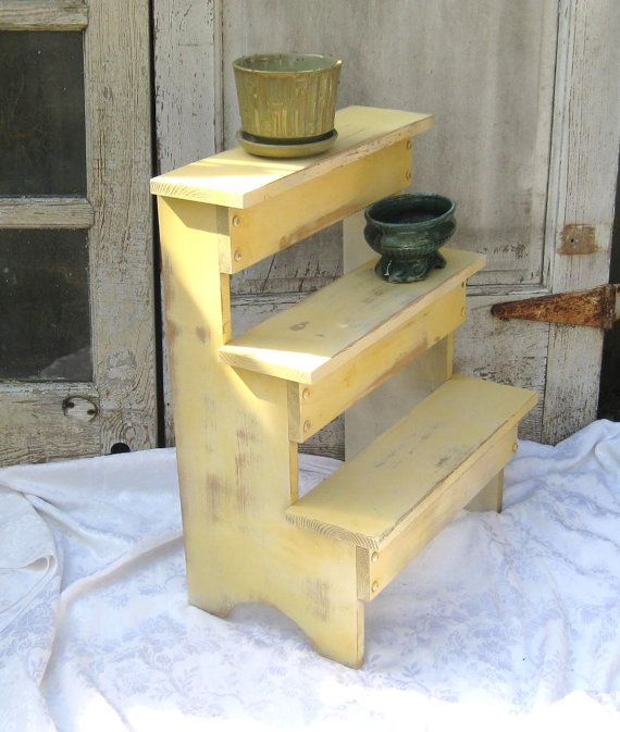 rustic distressed shelf standing plant stand shabby 3 tier wood shelves farmhouse country. Black Bedroom Furniture Sets. Home Design Ideas