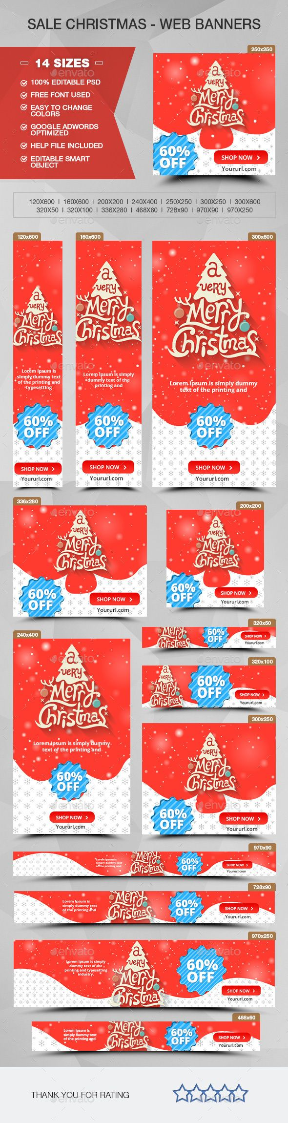 Christmas Sale Web Banners Template PSD #design #ads Download: http://graphicriver.net/item/christmas-sale-ads-banners/13964902?ref=ksioks