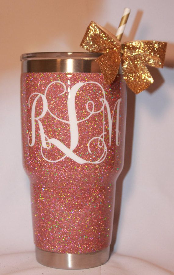 Solid Glitter Yeti Rambler With Monogram By