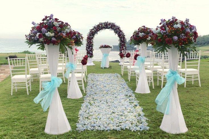 Tema Warna Dekorasi Pernikahan; White Red & Sky Blue