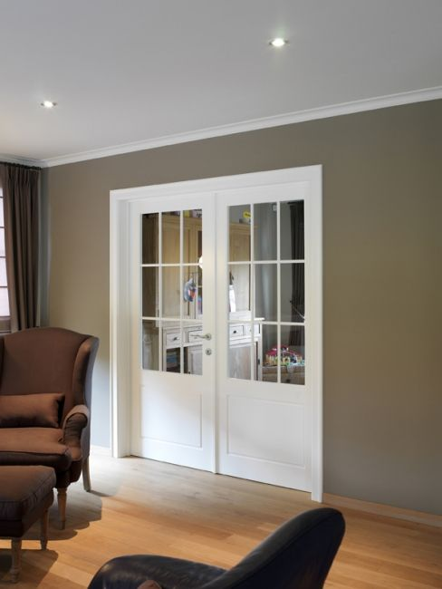 klassieke binnendeur 17 MDM dubbele deur lak Couleur des murs