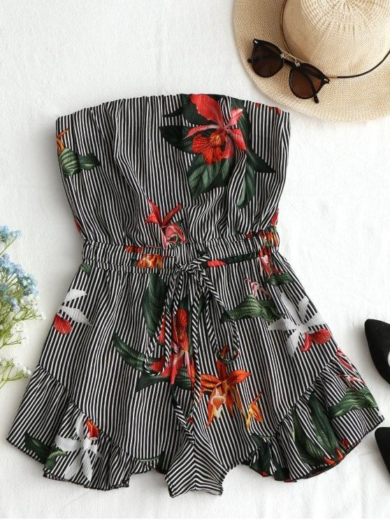 94f17616546 Up to 80% OFF! Striped Floral Ruffles Strapless Romper.  Zaful ...