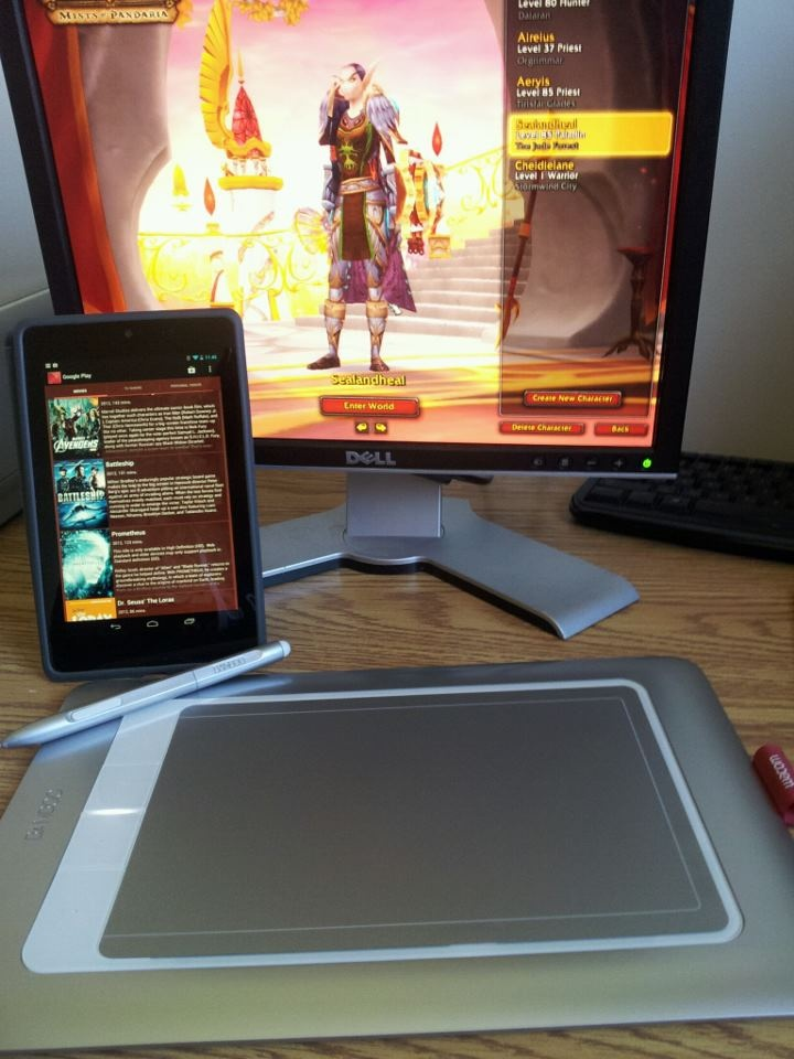 Just a few of my gadgets & gizmos. Nexus 7 tablet, Bamboo drawing tablet & of course.. a date with my Paladin :D