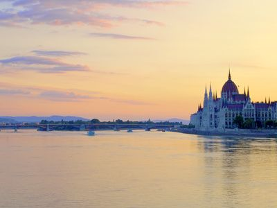 Hungarian Parliament Building at Sunrise, Budapest, Hungary