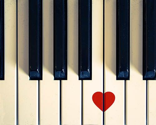 Vintage photography piano heart print 8x10 black white red music fine art photography musical instrument dorm room decor romantic love