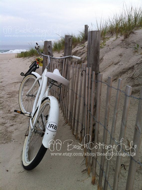 White Beach Bicycle (Seaside Beach Cruiser, Parked Along the Dune Fence)