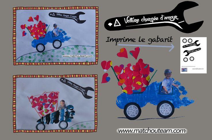 Un pied en voiture une photo de l'enfant et un dessin découpé à la perforatrice coeur