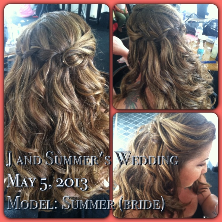 Bridal hairstyle. Waterfall braid