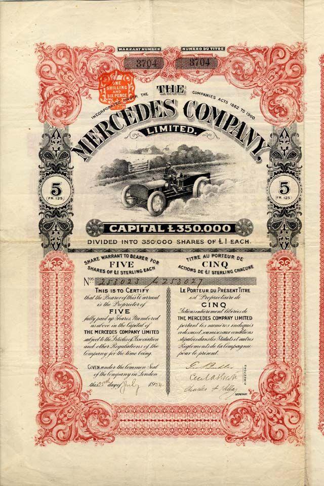 THE MERCEDES COMPANY LTD. Zertifikat über 5 Shares zu je L Sterling 1; # 3704;; London, den 25. July 1904