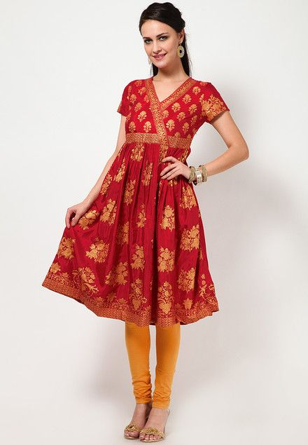 Printed Viscose Red Angrakha Kurta