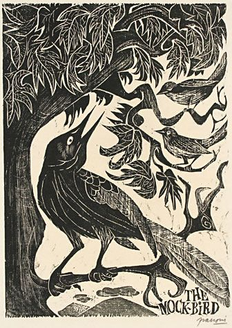 Antonio Frasconi, woodcut, mockingbird