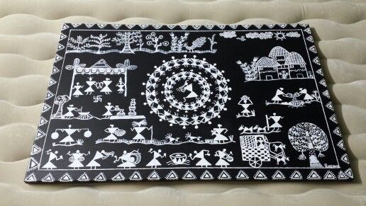 """Warli painting on a 24""""x36"""" canvas,  hand painted with a 0.00 brush and acrylic paint."""