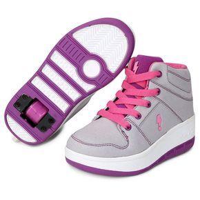 Tênis com Rodinha Zeep Starlight Infantil - Pink+Cinza
