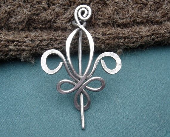 Fleur De Lis Aluminum Shawl Pin, Scarf Pin, Sweater Brooch, Fastener - Light Weight Aluminum Wire - Knitting Accessory