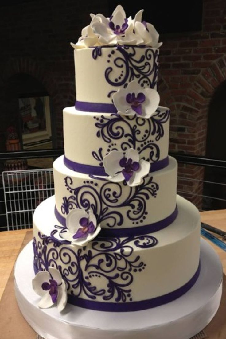 wedding cake lavender and white orchids with lace pattern cakes made 4 u 23063