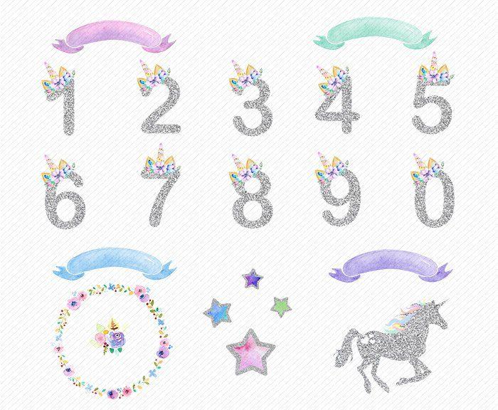 Numero D Argent Clipart Aquarelle Licorne Clipart Floral Numbers