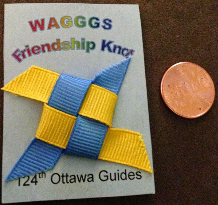 WAGGGS Friendship knot SWAPS for Girl guides and Girl Scouts.