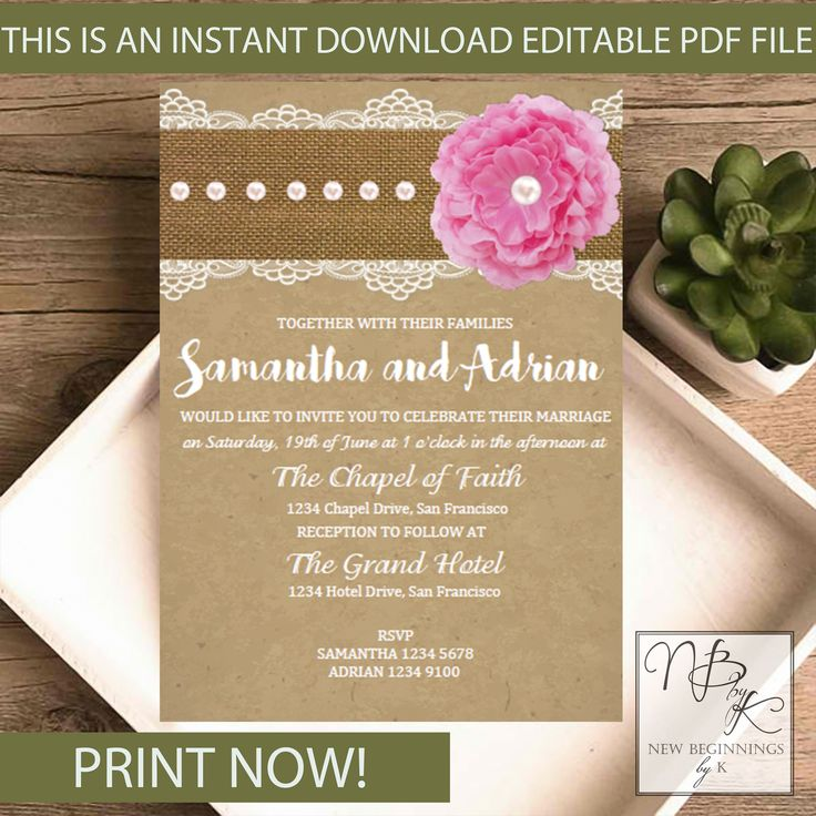 7 best Editable Wedding Invitations images by Newbeginningsbyk on ...
