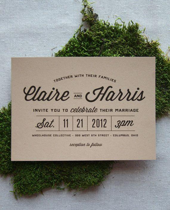 Stacked Typography Retro Modern Wedding by CheerUpCherup on Etsy