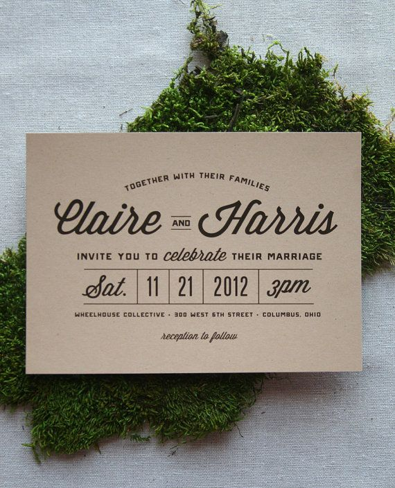 Stacked Typography Retro Modern Wedding by CheerUpCherup on Etsy, $3.75