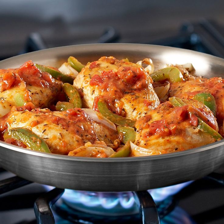 This one-skillet dish of chicken, bell pepper, onions and tomatoes is vibrantly seasoned with paprika, garlic and thyme.