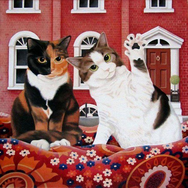 Шотландскую художницу Вики Маунт (Vicky Mount) на творчество вдохновляют коты. Она создает различные их портреты.«Я хотела быть художником, сколько я себя помню. Оглядываясь на свое детство, мне кажется, что я всегда рисовала и красила. В 11 лет мне было позволено нарисовать мурал на стене ванной комнаты большой леди, одетой в красный купальный костюм и танцующей на побережье.В 1986 году я закончила Университет в Лид…