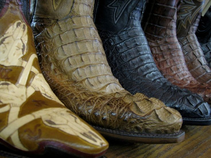 Exotic skin boots on display at Allens Boots