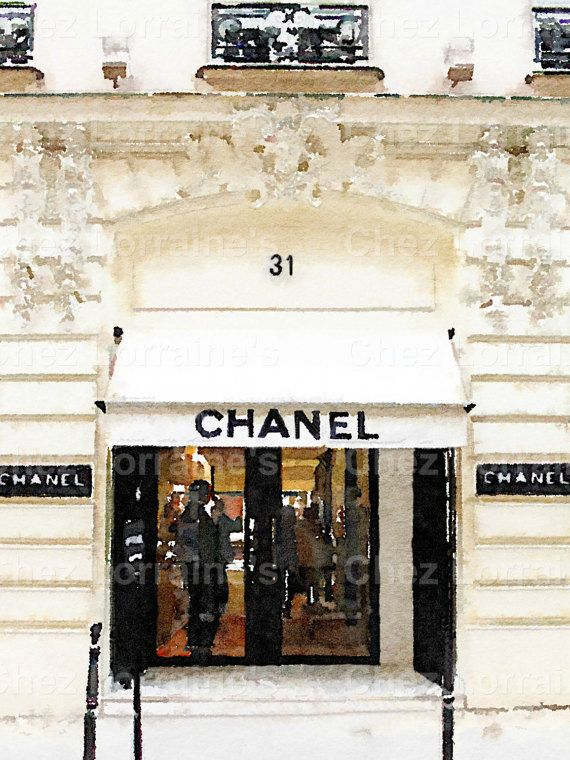 Chanel Paris Store:  A Fashion Watercolor Fine Art Photographic Print for the High Fashion Lover, Bedroom or Bathroom Fine Art