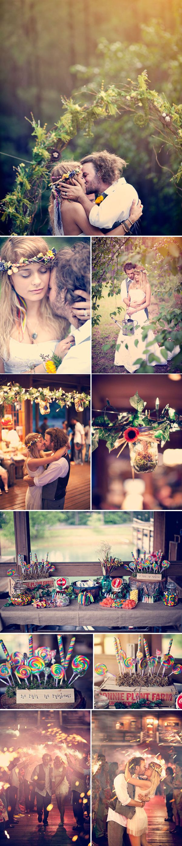Okay, I never look at wedding stuff, but this is so adorable! The flowers, the archway, the candy!