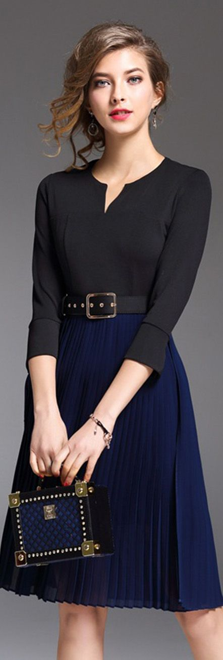 Blue Belted Notch Neck Pleated Dress. A business woman look
