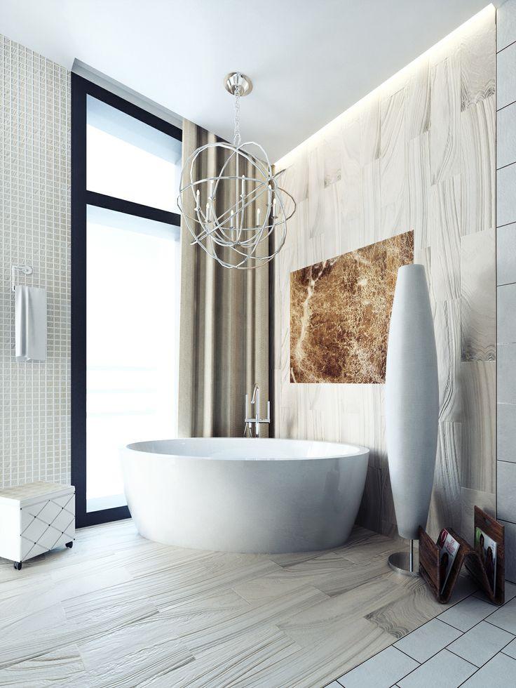 Marmor в ванной Овальная ванная в сочетании с мрамором в ванной комнате