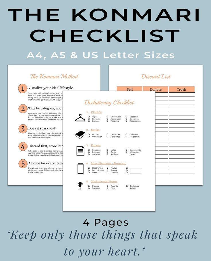 Konmari Method Printable Workbook Declutter Printable Spring Cleaning Printable The Konmari Method Checklist House Cleaning Sheet Putz Hacks Konmari Konmari Methode