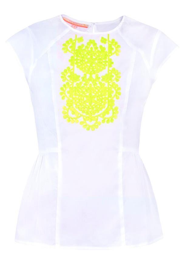 Vilagallo Chiara Embroidered Print Cap Sleeve Blouse, White | McElhinneys Department Store