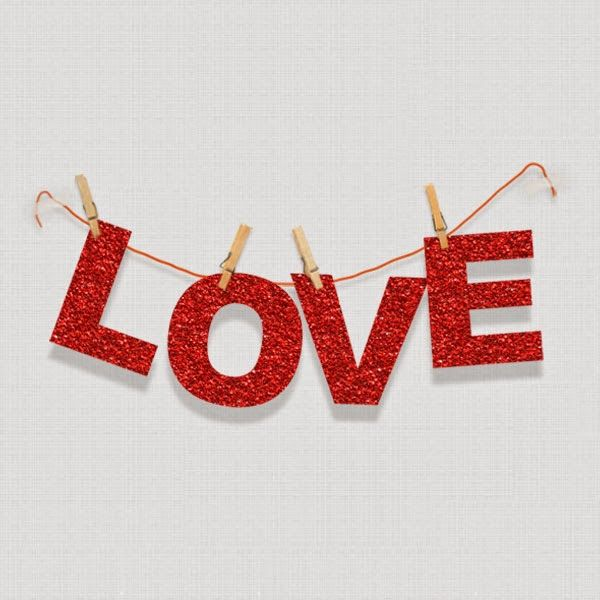 diy love banner with FREE alphabet outline download