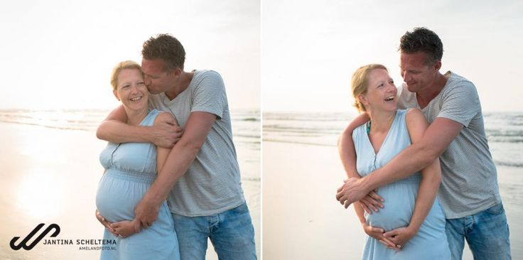 Pregnant and happy on the beach. Ameland, Friesland, Netherlands