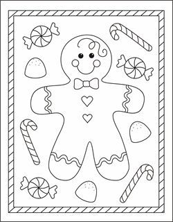 Free Christmas coloring pages - gingerbread man coloring sheets - gingerbread boy