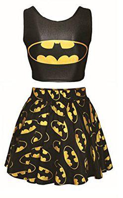 Benibos Womens Digital Print Reversible Crop Top + Skirt 2 Pieces Vintage Clubwear (Batman)