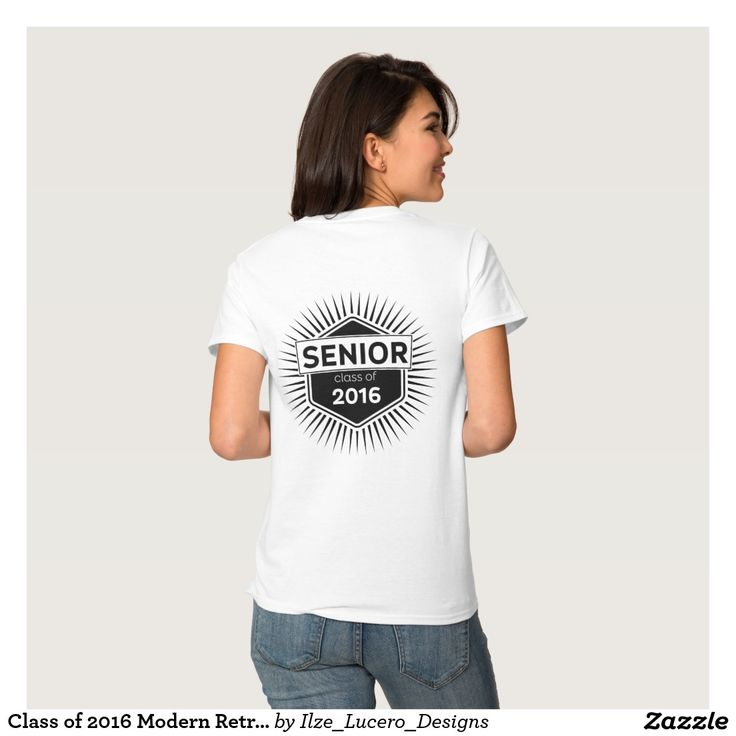 Class of 2016 Modern Retro Badge Front and Back T-shirt