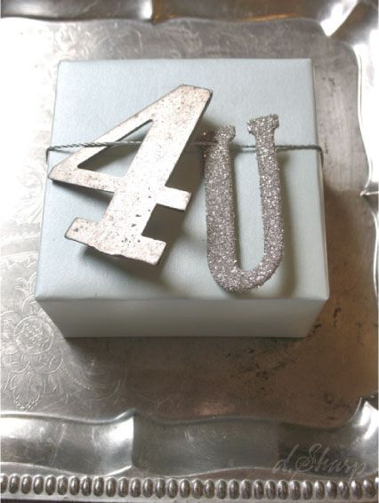 glittered/sprayed chipboard letters & numbers