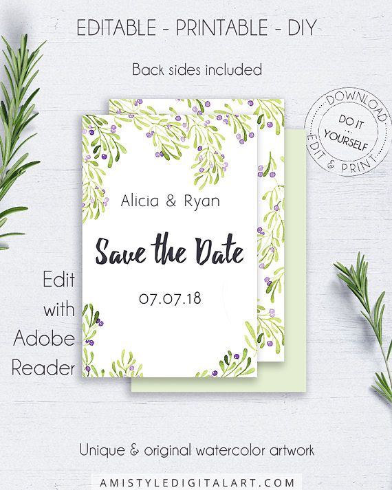 Olive Save the Date DIY Invitation - with nice and stylish watercolor olive graphics, which fits your nature botanical wedding themeThis save the date card template is for an instant download EDITABLE PDF so you can download it right away, DIY edit and print it at home or at your local copy shop by Amistyle Digital Art on Etsy