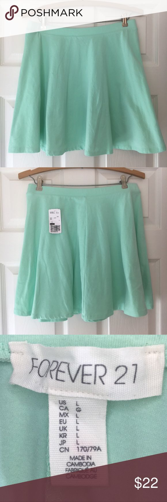 NEW Mint Green Forever 21 Mini-Skirt NEW Adorbs Mint Green Forever 21 Mini-Skirt with elastic waist (size Large). New with Tags! Forever 21 Skirts Mini