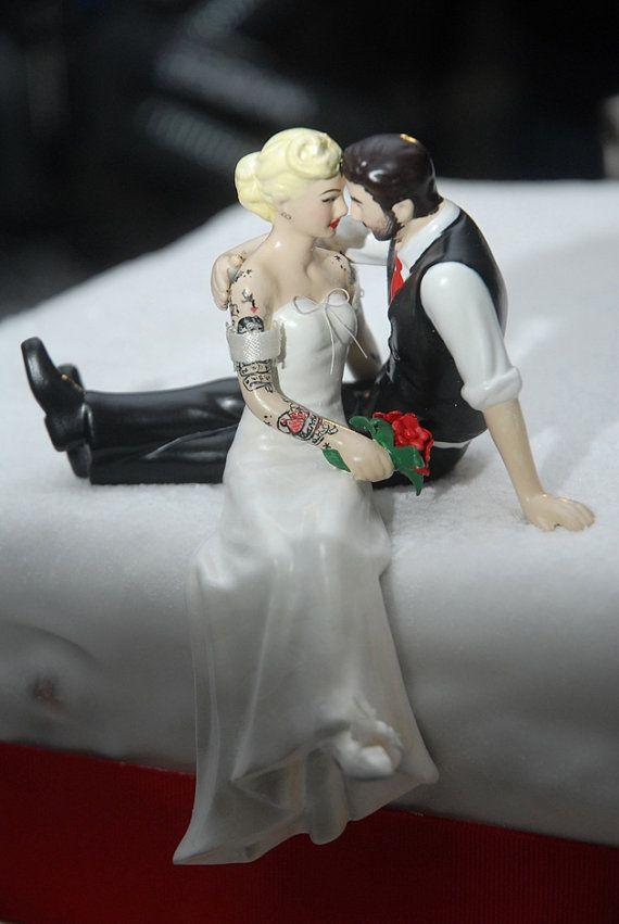 Tattooed Wedding Cake Topper . Bride and Groom by ToHellinAHandbag