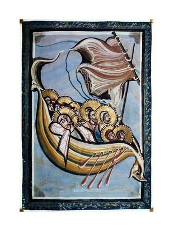 The Storm at Sea, from the Gospel of the Abbess Hitda, C.1020 (Vellum) Giclee Print by Ottonian Movement at Art.com