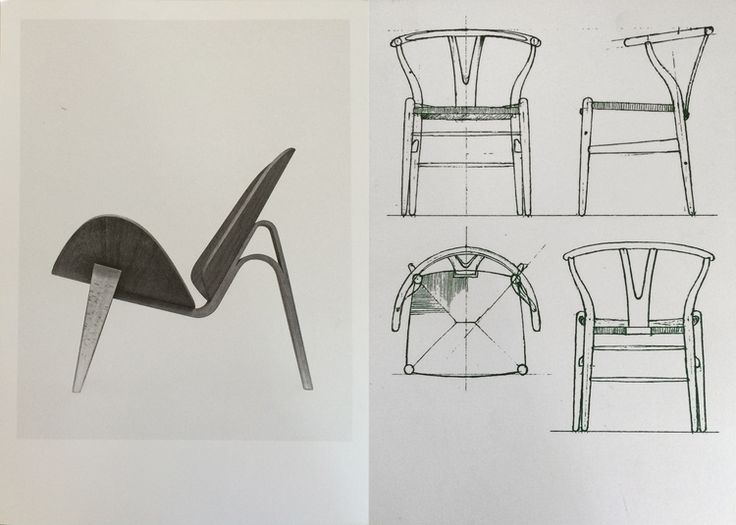 Souvenirs from The Copenhagen Design Museum: Hans J. Wegner; The two-part shell chair (1963), Drawing for the wishbone chair (1950) #aelder #aelderdesign